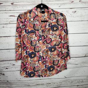 Ann Taylor Floral Button Front Top Size 8